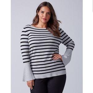 Lane Bryant Sweater Bell Sleeve Striped Boatneck